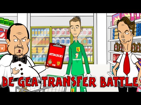 📝De Gea TRANSFER BATTLE📝 Rafa Benitez vs Van Gaal PARODY! (Real Madrid vs Man Utd Cartoon)