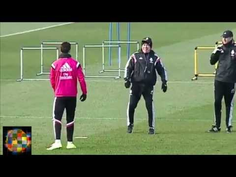 Cristiano Ronaldo and Ancelotti Compare Leg Flexibility in Real Madrid Training 2015 | Challenges
