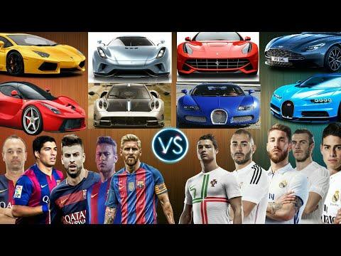 Fc Barcelona Vs Real Madrid Players Supercars (Messi ,Neymar, Suarez, Vs Ronaldo ,Ramos, Benzema) .