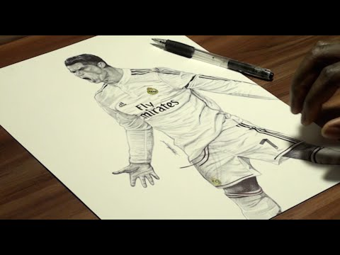 Cristiano Ronaldo Pen Drawing – Real Madrid C.F. – DeMoose Art
