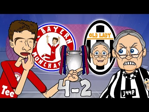 BAYERN MUNICH vs JUVENTUS 4-2 (UEFA Champions League 2016 Cartoon Parody Goals Highlights)