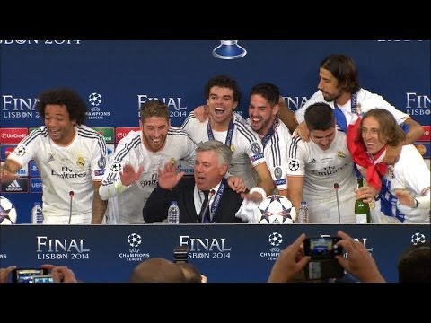 Real Madrid players invade Carlo Ancelotti's press conference