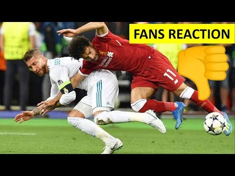 Fans Hatred Reaction To Sergio Ramos Foul On Mohamed Salah | Real Madrid vs Liverpool 3-1