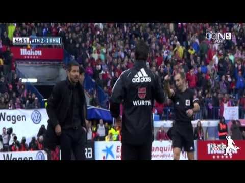 Big Fight Between Atletico Madrid Assistant coach vs Referee – Atletico vs Real Madrid 2/3/2014
