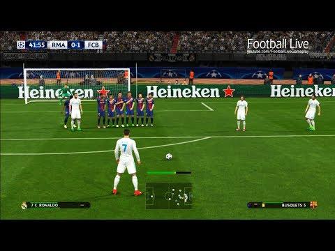 PES 2017   Real Madrid vs Barcelona   C.Ronaldo Free Kick Goal & Full Match   UEFA Champions League