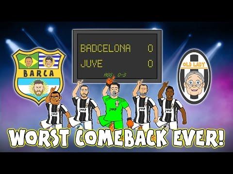 😆WORST COMEBACK EVER😆Juve beat Barca! (0-0 Champions League Quarter Final 2017 Parody Highlights)