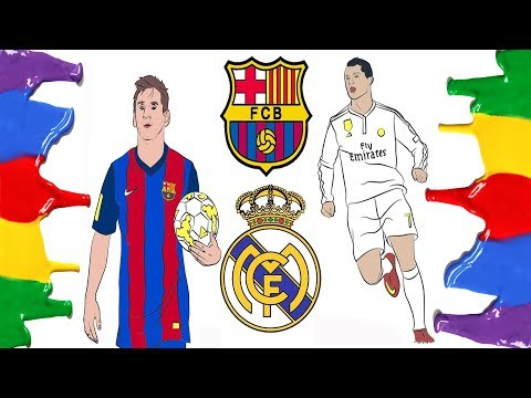 How to Draw and Color – Barcelona, Real Madrid Logo and Messi & Ronaldo Coloring Pages