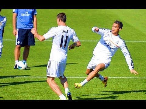 Cristiano Ronaldo Fouls Gareth Bale – Bale owns Ronaldo in Real Madrid Training