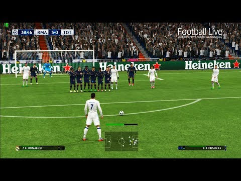 PES 2017 | Real Madrid vs Tottenham | C.Ronaldo Free Kick Goal & Full Match | UEFA Champions League