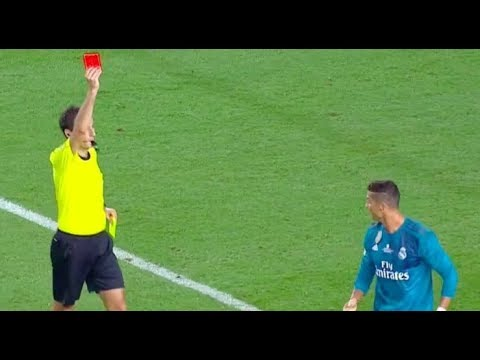 Cristiano Ronaldo RED CARD then Pushes Referee  ( Barcelona 1-3 Real Madrid )