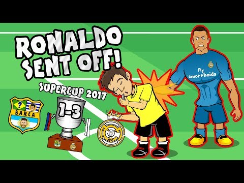 🔴RONALDO RED CARD🔴 CR7 shoves the ref! Barcelona 1-3 Real Madrid PARODY (Supercup 2017)