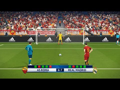 AS ROMA vs REAL MADRID | UEFA Champions League – UCL | Penalty Shootout | PES 2018 Gameplay PC