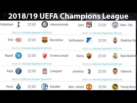 2018/19 UEFA Champions League Fixtures, UCL Schedule for Matches