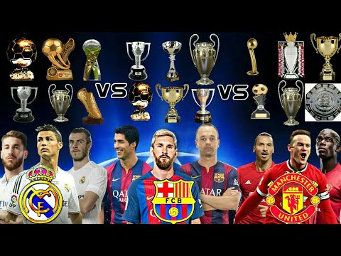 Real Madrid vs Fc Barcelona vs Manchester United  Trophies , Awards , Medals & Much More.