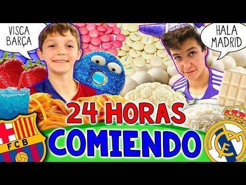 Reto 24 HORAS comiendo BARÇA vs REAL MADRID * Comida de los COLORES de TU EQUIPO favorito