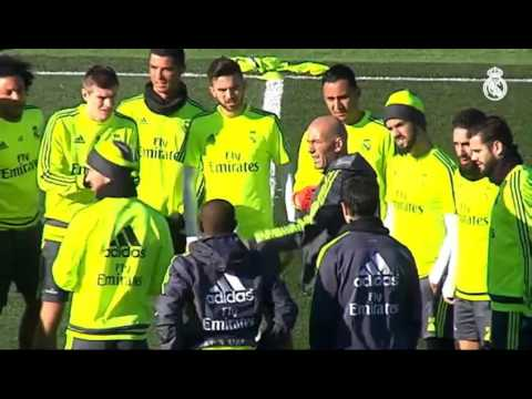 Zinedine Zidane's first training session as Real Madrid coach