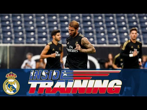 Real Madrid train at the NRG Stadium in Houston