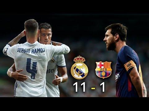 اهداف مباراة ريال مدريد وبرشلونه  11 – 1 مباراه مجنونه 🔥🙈😱🔥🔔لا تنسى الاشتراك 🔔