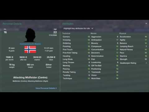Football Manager 2017 Wonderkids | Martin Ødegaard |Real Madrid|ATMD|Age 17-28 Attributes Evolution