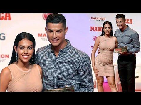 Cristiano Ronaldo lovingly hugs his glamorous girlfriend Georgina Rodriguez at Marca Legend award