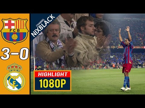 Ronaldinho real madrid standing ovation Barcelona 3-0 Real Madrid 2005 Laliga Highlights FHD/1080P
