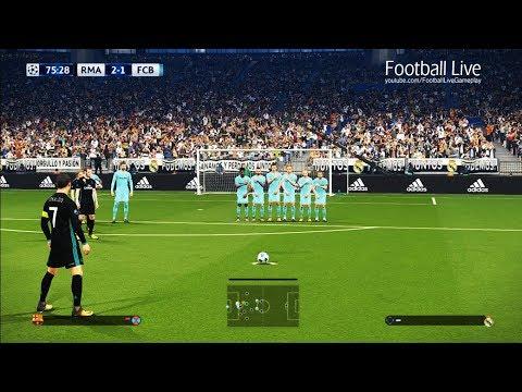 PES 2018   Real Madrid vs Barcelona   Free Kick Goal CR7   el clasico   final UEFA Champions League