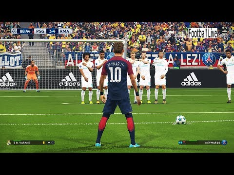 PES 2018 | PSG vs Real Madrid | NEYMAR free kick like C.RONALDO | UEFA Champions League UCL