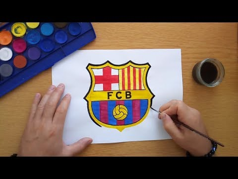 How to draw the FC Barcelona logo – Cómo dibujar el logo de FC Barcelona