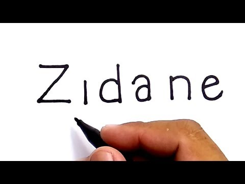 VERY EASY !, how to turn words ZIDANE into cartoon for kids / how to draw zidane zidane