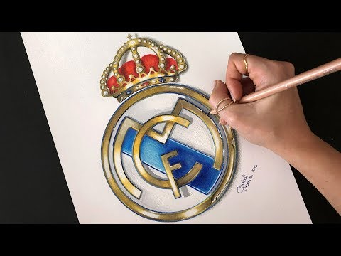 DRAWING REALI MADRID REALISTIC LOGO