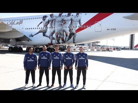 Real Madrid Players tour the Real Madrid Emirates A380 | Emirates Airline