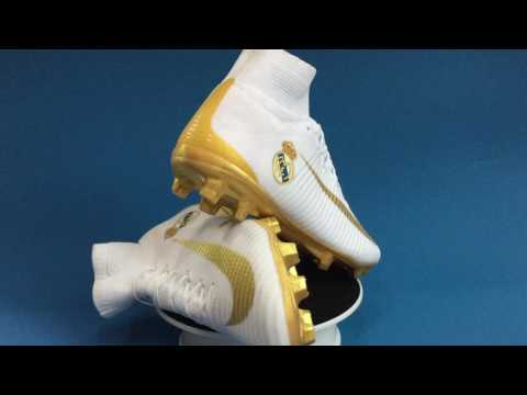 2016 Review nike mercurial superfly FG — Real Madrid Logo –Team Home Colorway  White/Gold