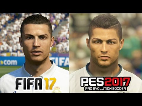 FIFA 17 vs PES 2017 REAL MADRID Face Comparison (Ronaldo, Bale, Ramos)