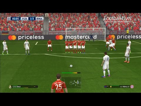 PES 2017 | Bayern Munich vs Real Madrid | Free Kick Goal & Poker Bale | UEFA Champions League