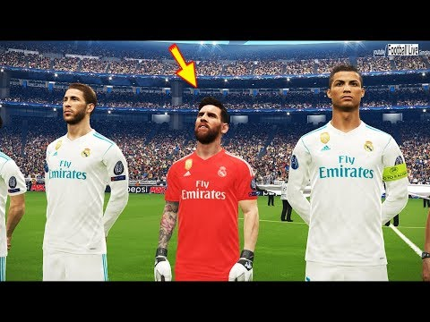 PES 2018 | Real Madrid vs Marseille | Goalkeeper Messi | C.Ronaldo Poker (scored 4 goals)
