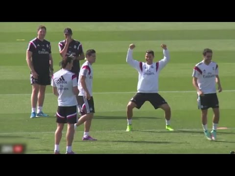 Cristiano Ronaldo Panna On James Rodriguez | Funny Celebration ● Real Madrid Training Session (HD)