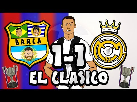 👀RONALDO watches EL CLASICO!👀 (Barcelona vs Real Madrid 1-1 Parody Copa Del Rey 2019 Highlights)